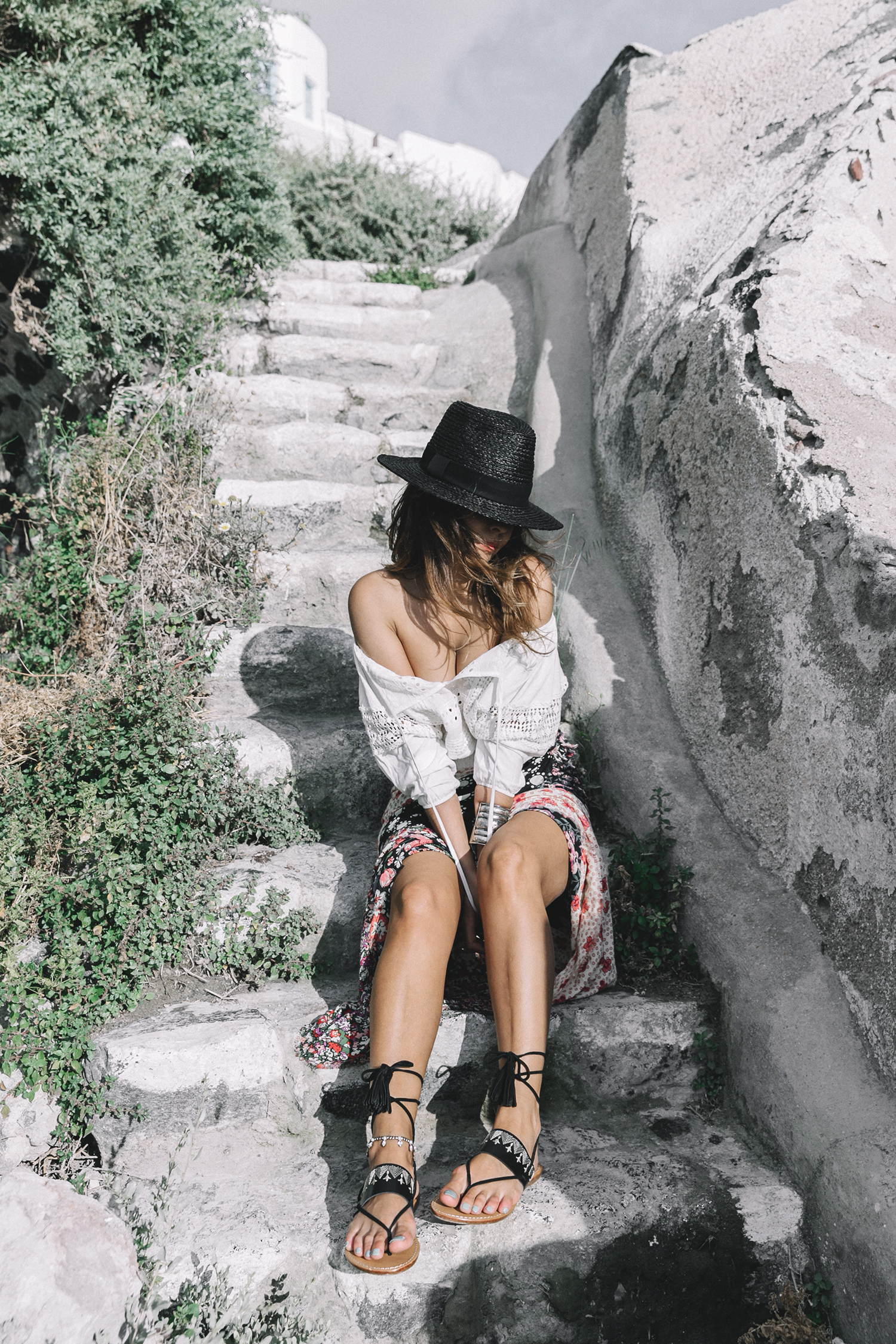 Scarf_As_Skirt_Boho_Top-Straw_Hat-Soludos_Escapes-Soludos_Espadrilles-Summer-Santorini-Collage_Vintage-39