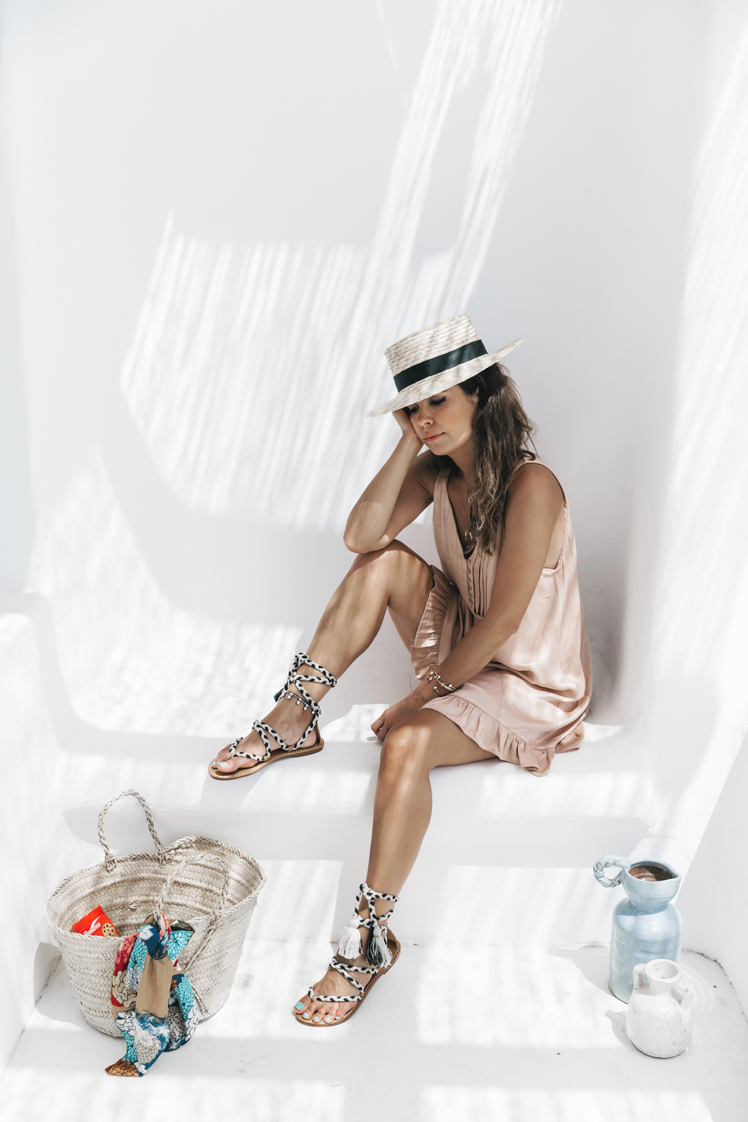 Soludos-Soludos_Escapes-Light_Pink_Dress-Knotted_Sandals-Mykonos-Greece-Collage_Vintage-Summer_Outfit-Street_Style-5