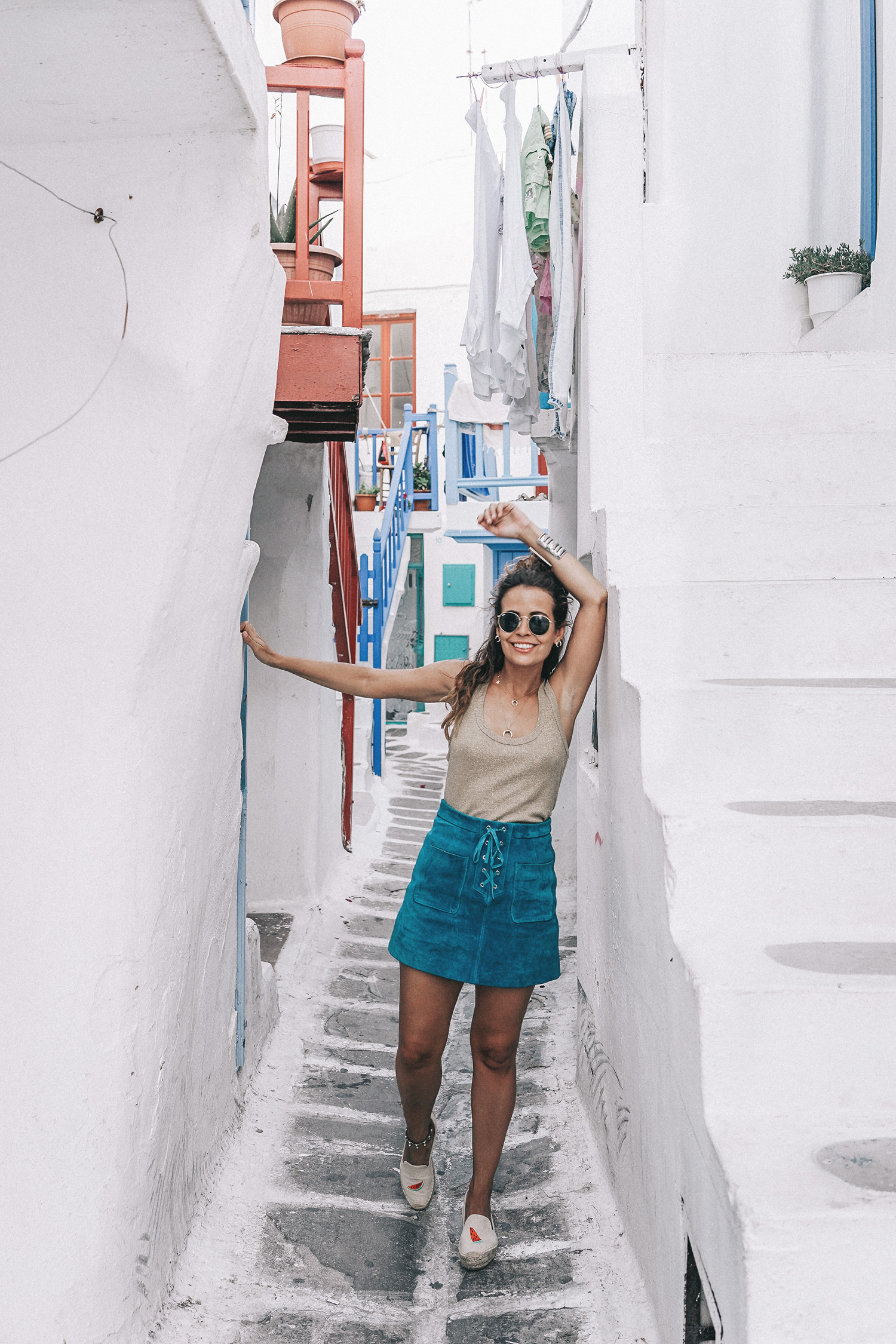 Gold_Top-Metallic_Trend-Suede_Skirt-Turquoise_Skirt-Soludos_Espadrilles-Soludos_Escapes-Mykonos-Greece-Collage_Vintage-Street_Style-105