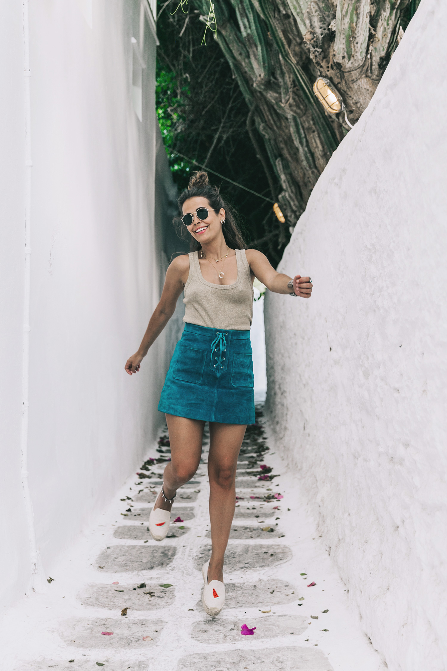 Gold_Top-Metallic_Trend-Suede_Skirt-Turquoise_Skirt-Soludos_Espadrilles-Soludos_Escapes-Mykonos-Greece-Collage_Vintage-Street_Style-53