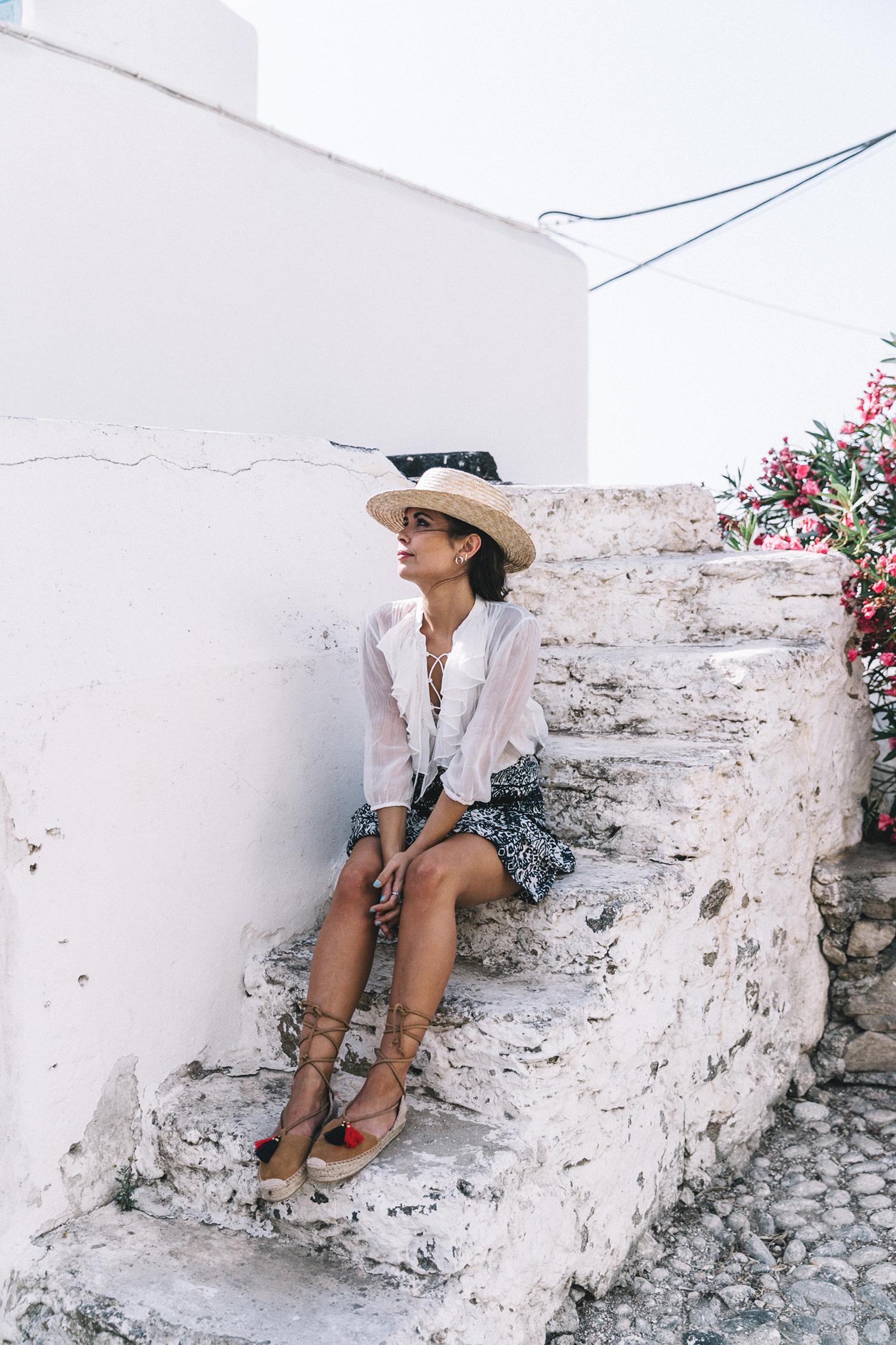 Lace_up_Blouse-Ralph_Lauren-Soludos_Espadrilles-Soludos_Escapes-Skirt-Straw_Hat-Canotier-Lack_Of_Color-Street_Style-Mykonos-Greece-Collage_Vintage-2