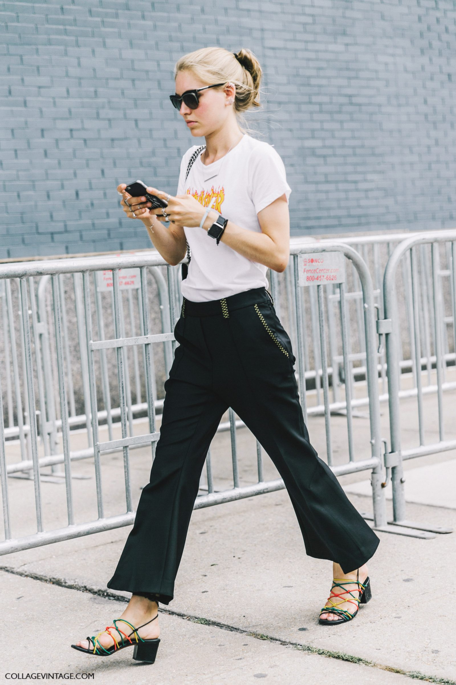 nyfw-new_york_fashion_week_ss17-street_style-outfits-collage_vintage-jessica_minkoff-earrings-graphic_tee-black_trousers-chloe_sandals-gucci_bag