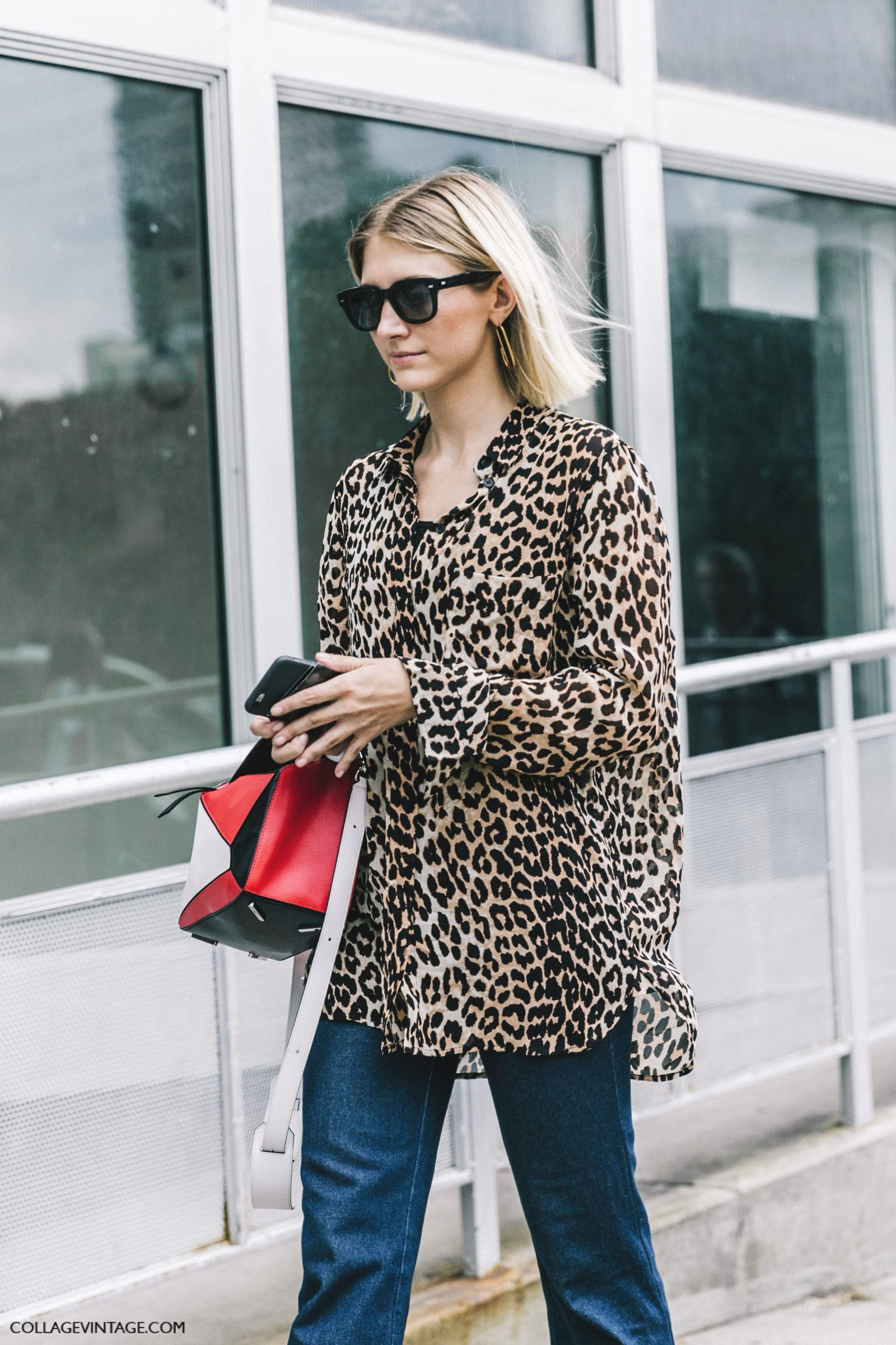 nyfw-new_york_fashion_week_ss17-street_style-outfits-collage_vintage-leopard_blouse-jeans-puzzle_bag_loewe