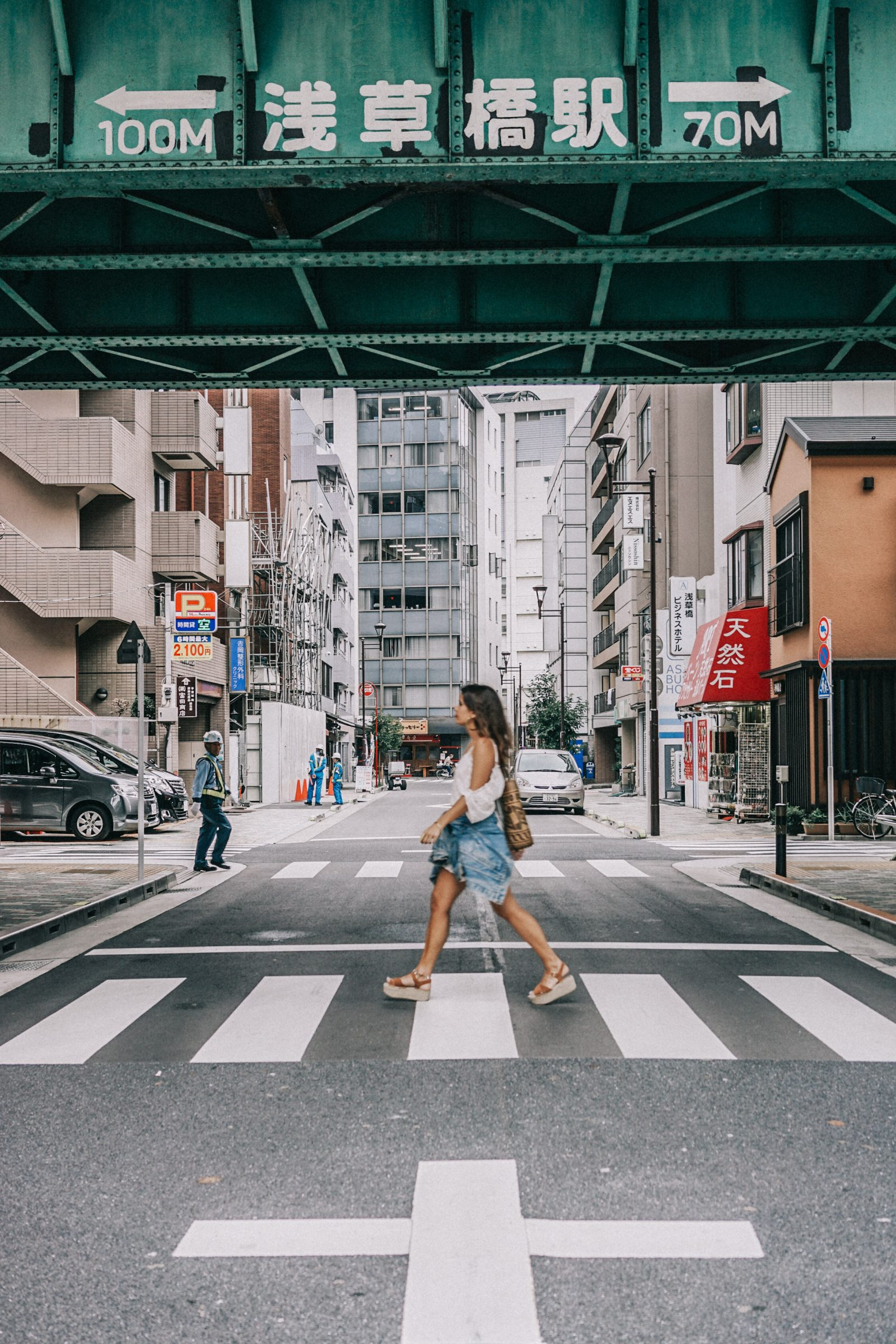tokyo_travel_guide-outfit-collage_vintage-street_style-lovers_and_friends_jumpsuit-white_outfit-espadrilles-backpack-levis_denim_jacket-akihabara-108