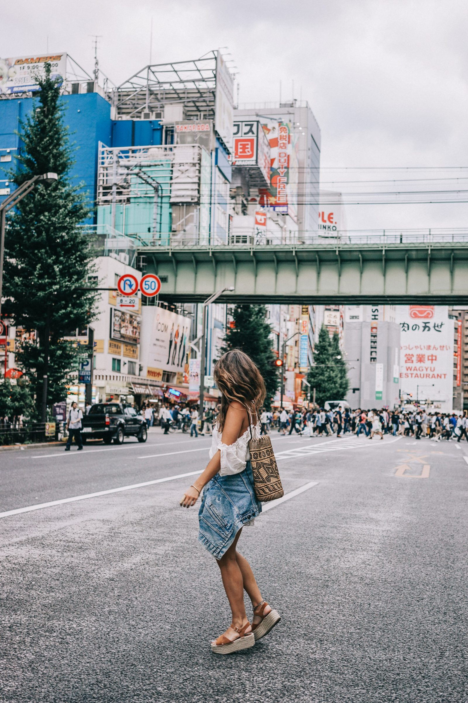 tokyo_travel_guide-outfit-collage_vintage-street_style-lovers_and_friends_jumpsuit-white_outfit-espadrilles-backpack-levis_denim_jacket-akihabara-123