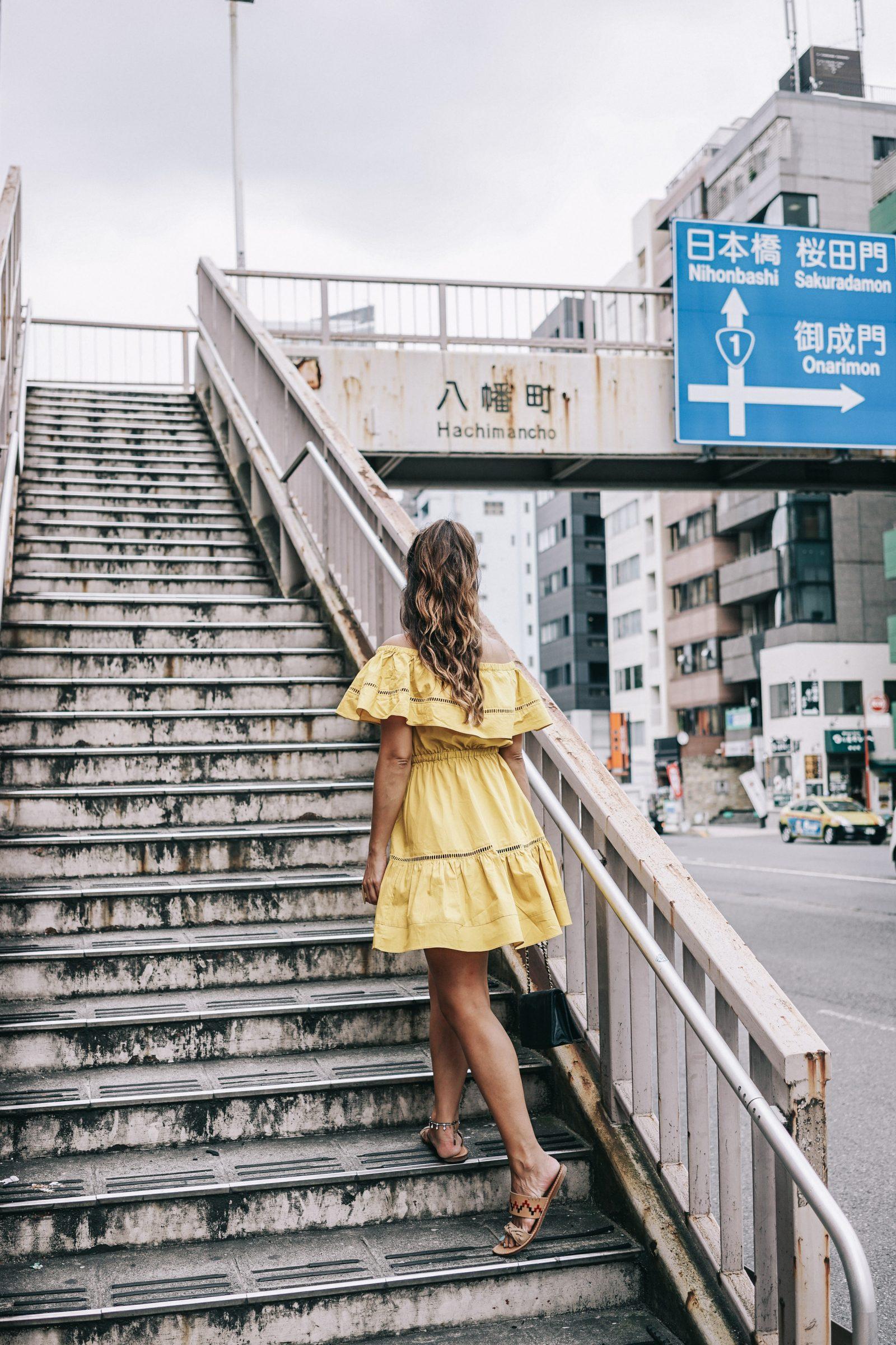tokyo_travel_guide-outfit-collage_vintage-street_style-off_the_shoulders_dress-mustard_dress-soludos_sandals-chanel_vintage-bag-vintage_stores-30