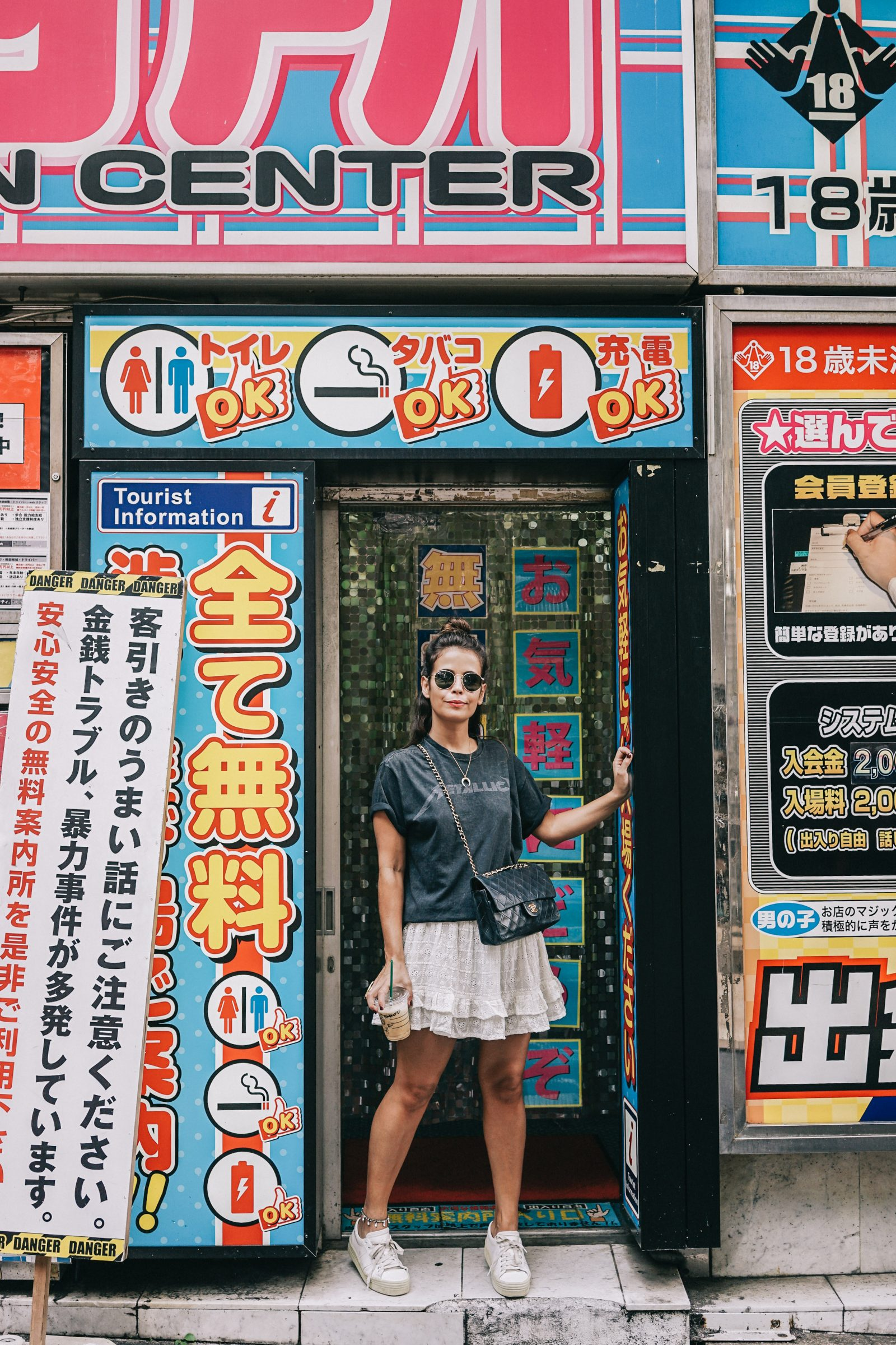 Tokyo_Travel_Guide-Outfit-Collage_Vintage-Street_Style-Top_Mettalica-Brandy_Melville-White_Skirt-Chanel_Vintage-Sneakers-5