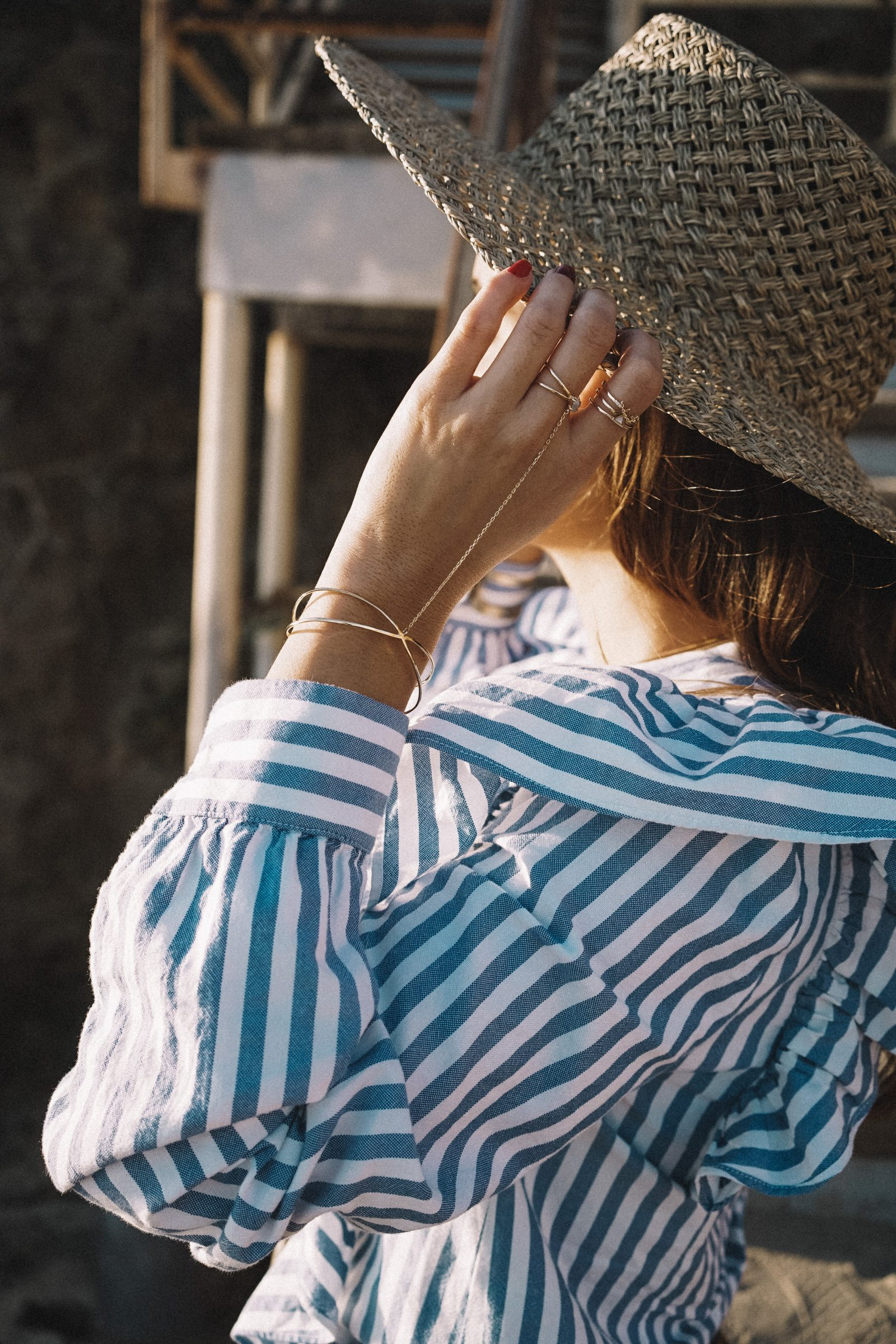 stripped_blouse-camel_trousers-lack_of_color_hat-wanderlust_jewels-matador_beach-malibu-golden_goose_sneakers-street_style-collage_vintage-87