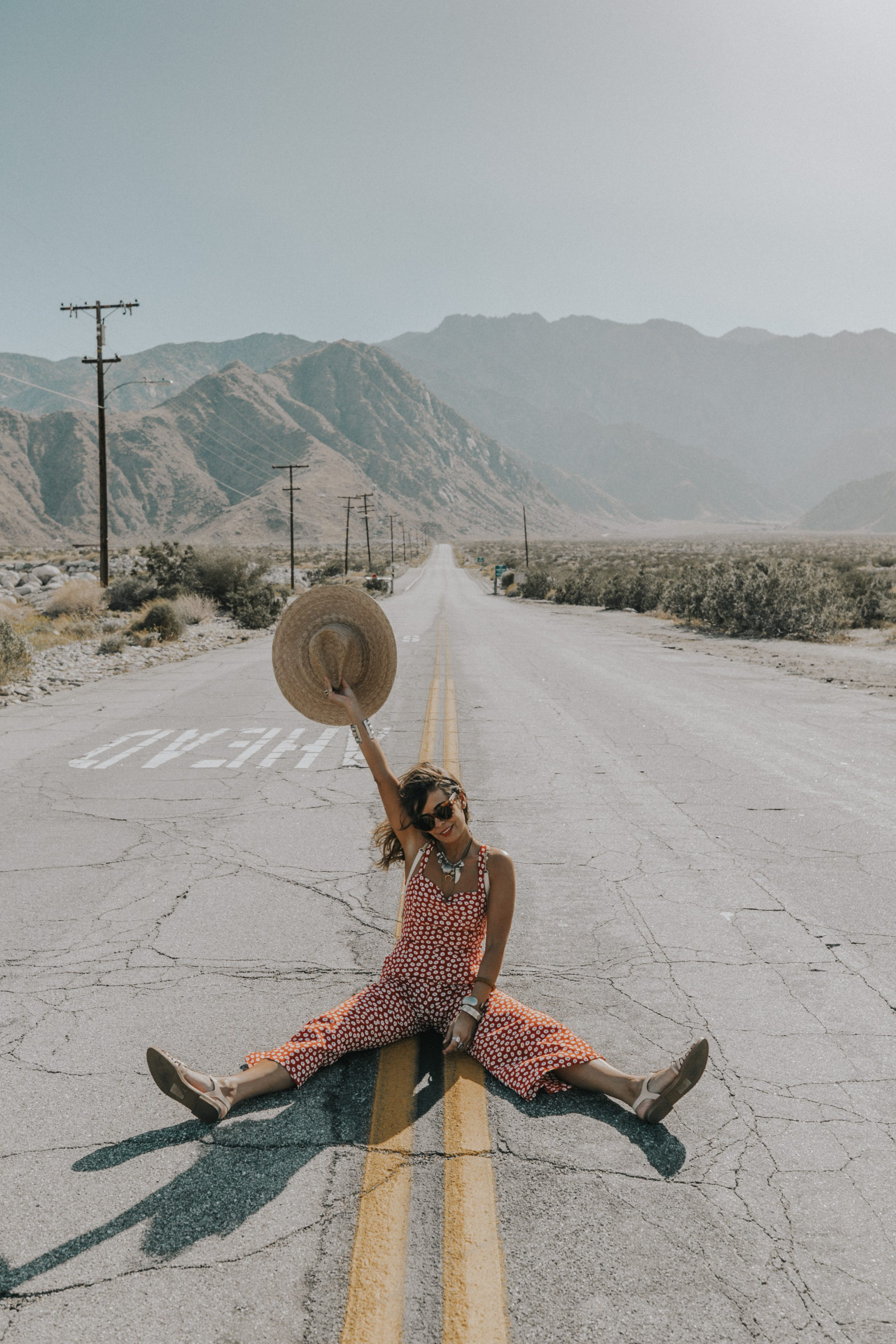 Sara of Collage Vintage wearing Faithfull x Revolve jumpsuit
