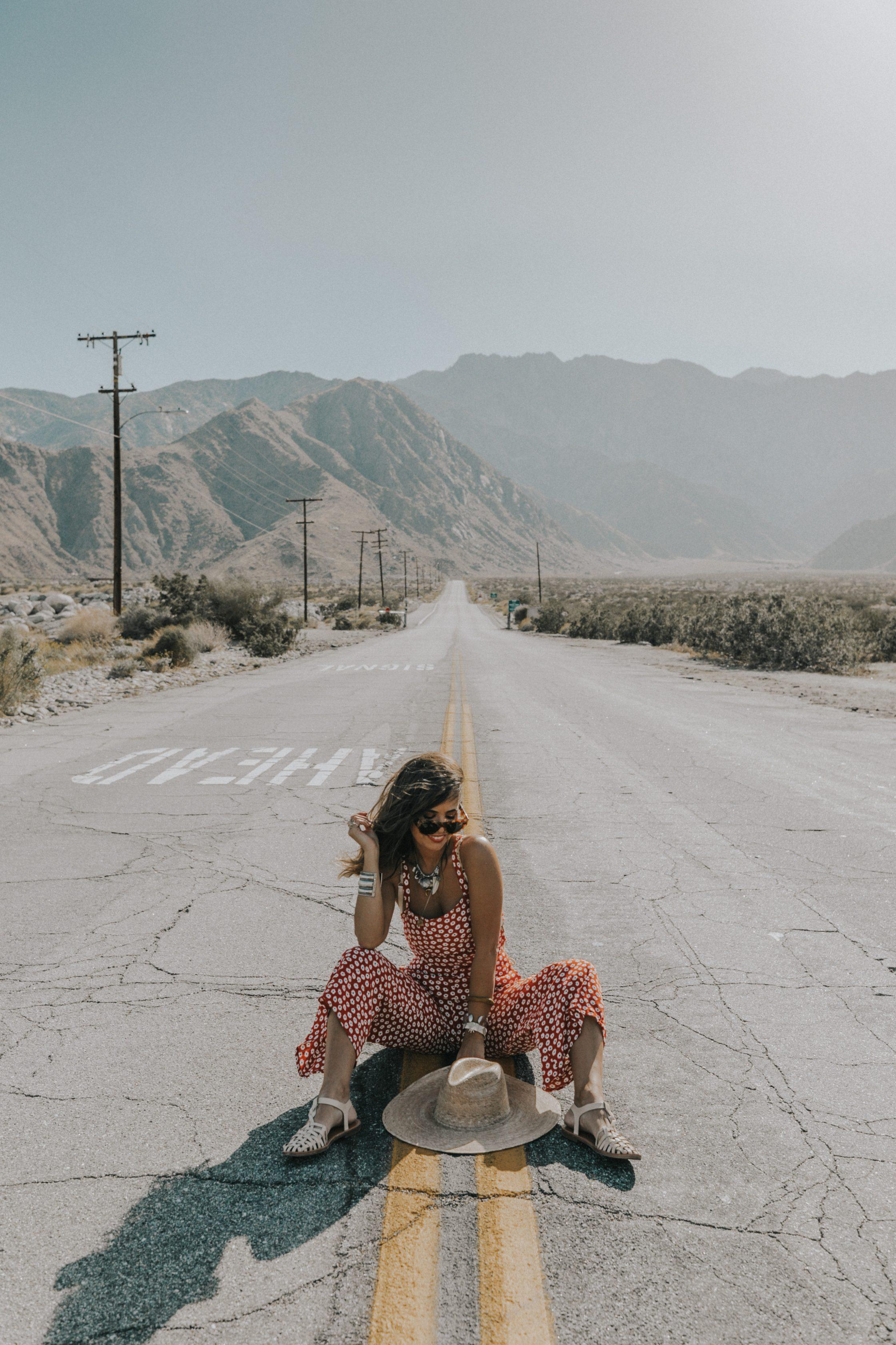 Sara of Collage Vintage wearing Faithfull x Revolve jumpsuit
