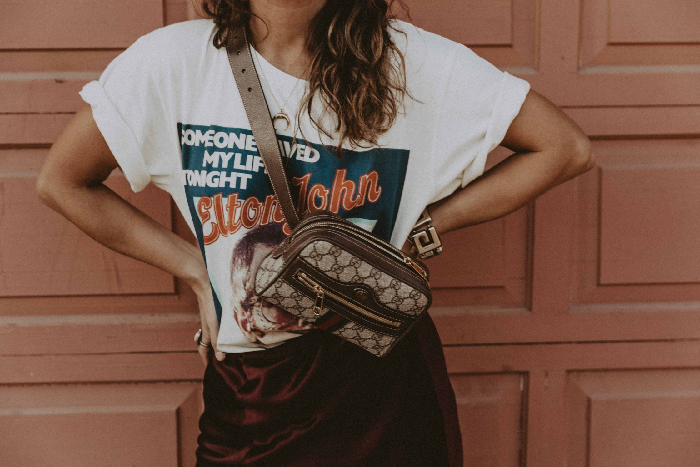 Sara of Collage Vintage wearing Joseph skirt and vintage Gucci tee