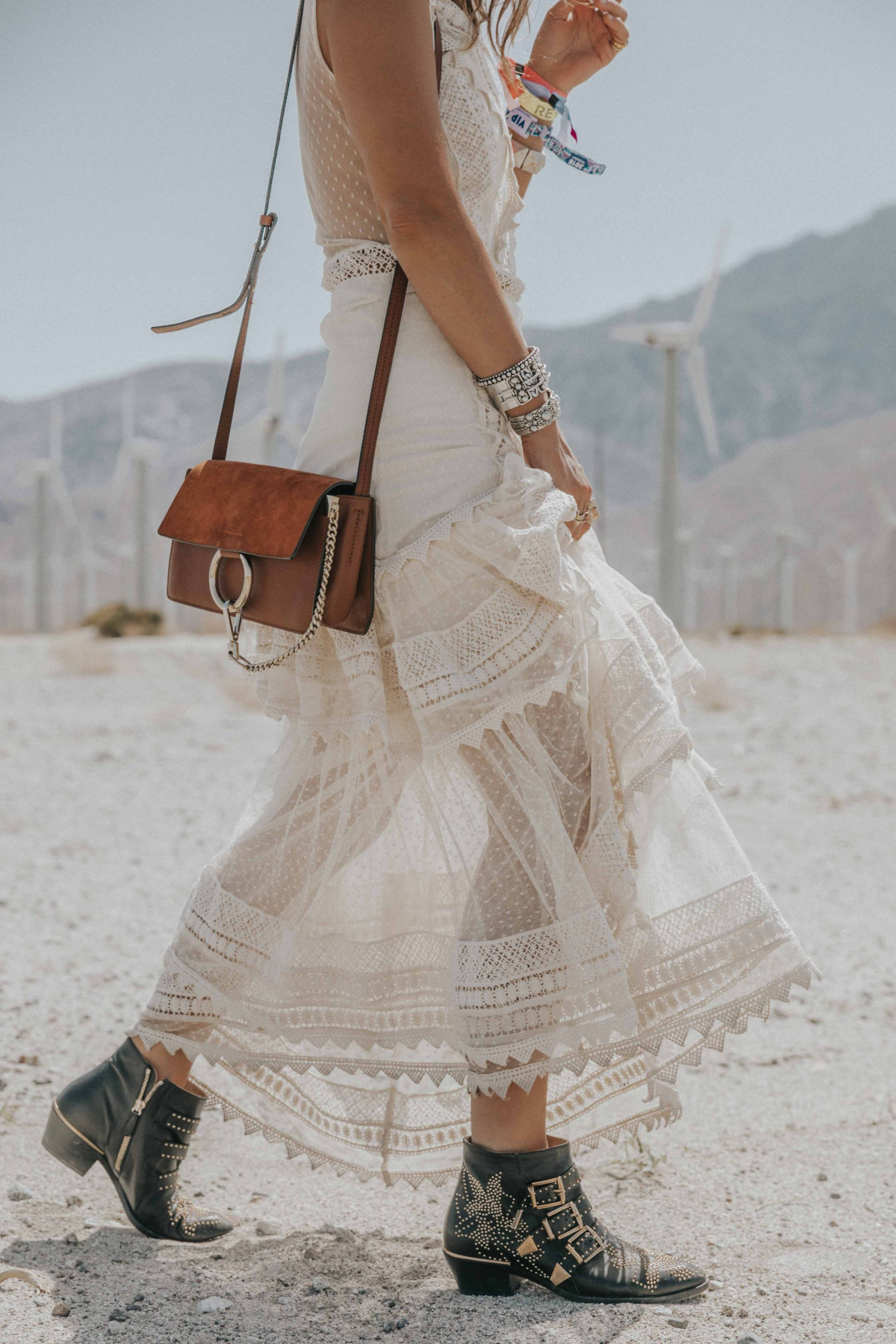 Collage Vintage at Coachella wearing a Long summer dress