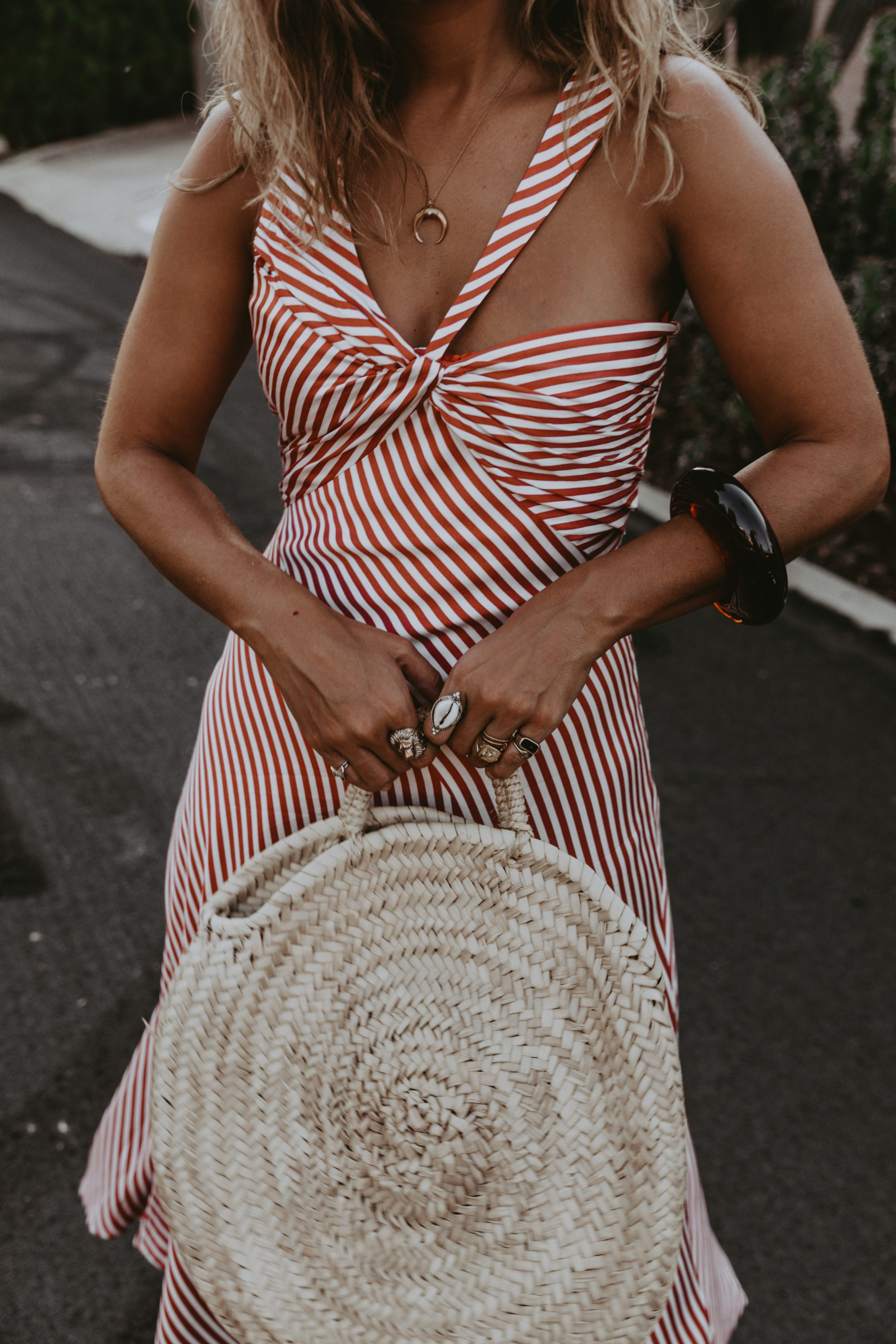 Sara Escudero for Collage Vintage is wearing a Jonathan Simkhai striped dress