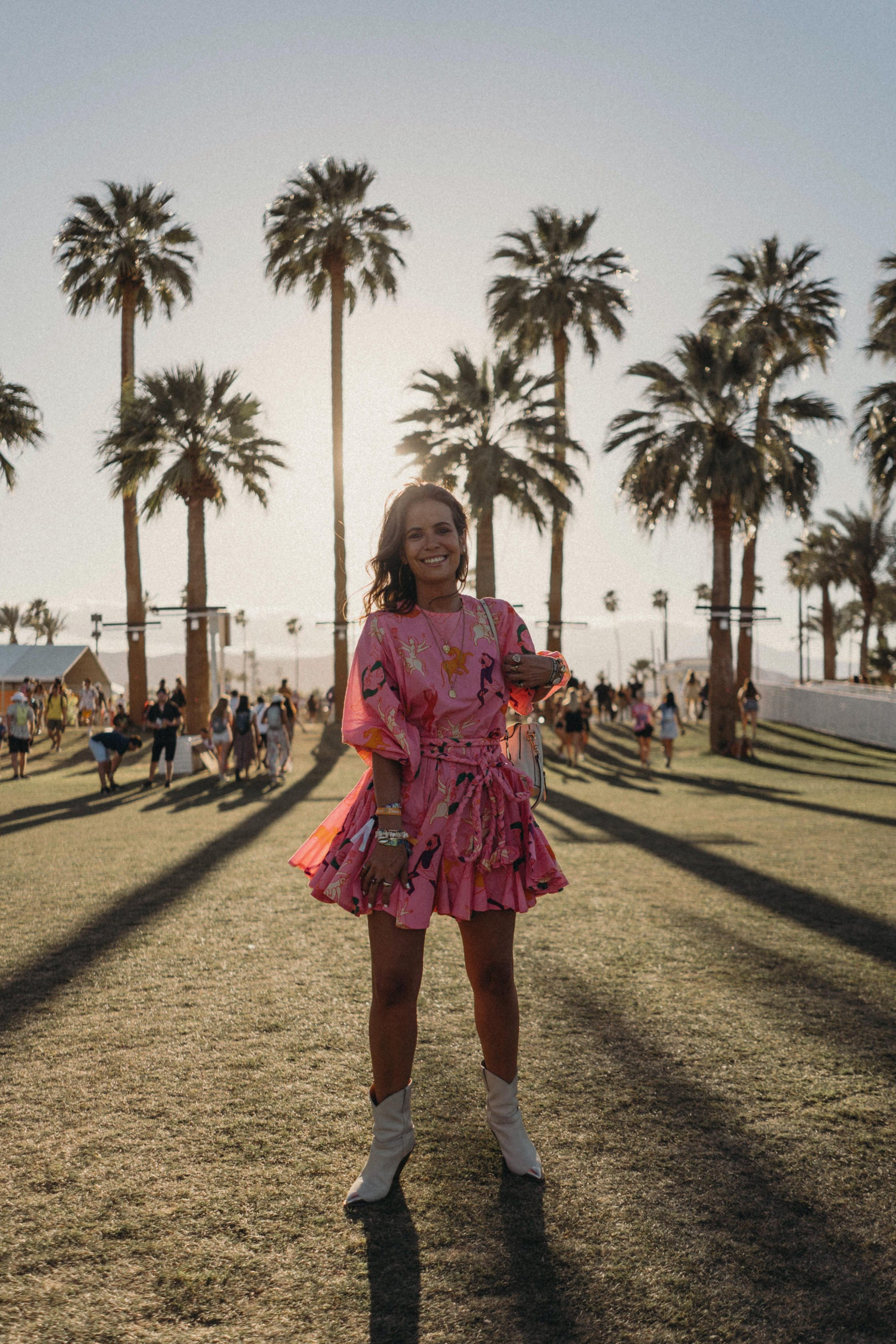 Sara of Collage Vintage wearing a Rhode dress for Coachella